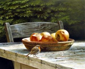 Schilderij Roodborst en appels