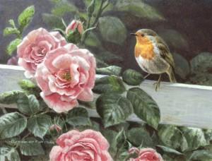 Schilderij roodborst en rozen