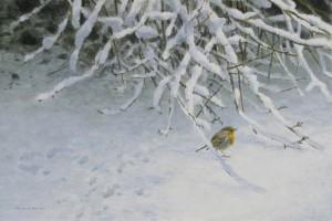 Schilderij Roodborst in sneeuw
